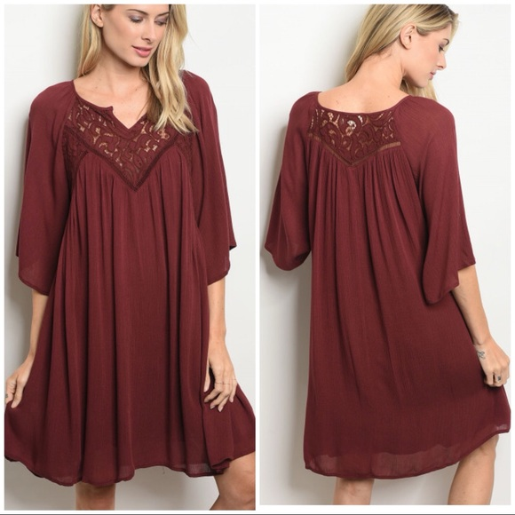 Dresses & Skirts - ALIA Maroon crochet dress/ tunic